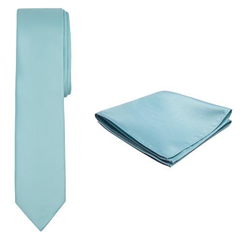 Jacob Alexander Solid Color Men's Skinny Tie and Hanky Set - Aqua Blue by Jacob Alexander