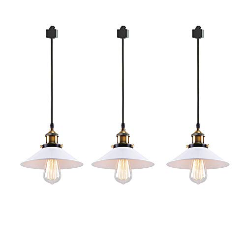 ANYE 3-Pack H-Type Track Light Pendants Restaurant Chandelier White Lamp Shade Decorative Instant Retro Pendant Light Industrial Factory Pendant Lamp Bulb Not Included
