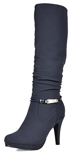 DREAM PAIRS Women's Sarah Navy Knee High Platform Heel Boots Size 8 M ()