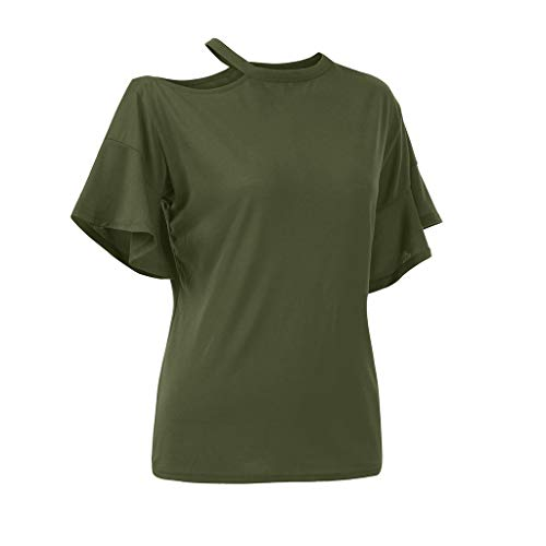 VLDO Women Solid Cold Off Shoulder Cotton Casual Blouse Top T-Shirt (S,Army Green) -