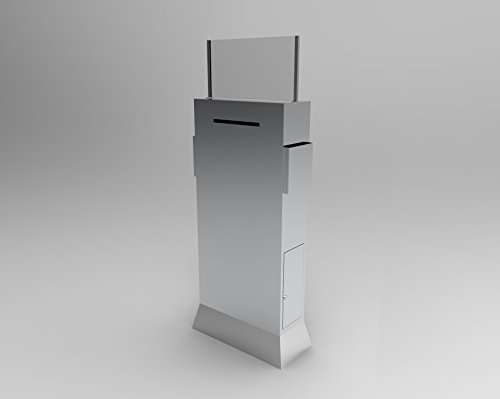 FixtureDisplays Metal Ballot Box w/Side Pockets, Lockable, 17 x 8.7 Header, Floorstanding - Silver 119577 ()