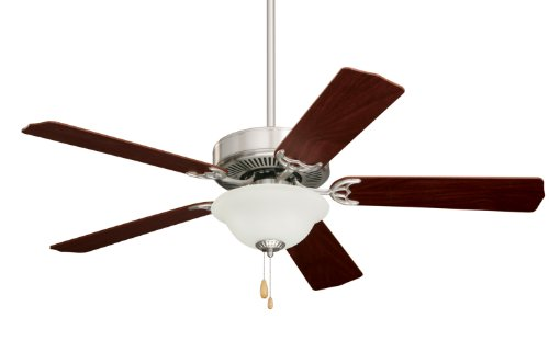 Emerson CF701BS Builder Unipack Indoor Ceiling Fan, 52-Inch Blade Span, Brushed Steel Finish, Dark Cherry/Mahogany Blades and Frosted Glass Cherry Brushed Steel