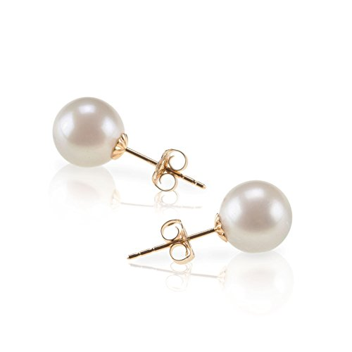 PAVOI 14K Gold Handpicked AAA+ Freshwater Cultured White Pearl Stud Earrings for Women