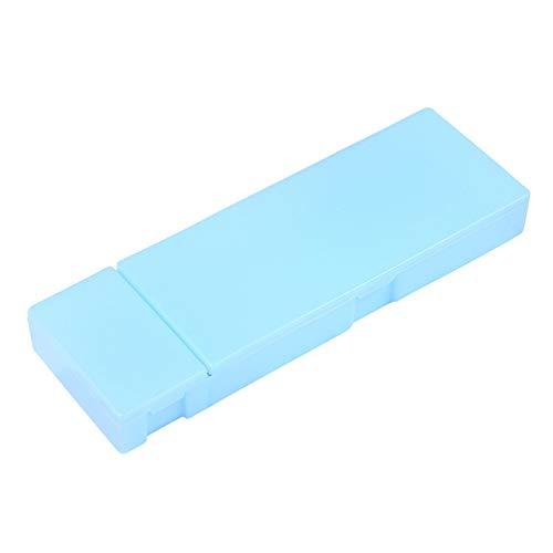 - Pencil Case Multi-Function Translucent Frosted Matte Pen Storage Case Pencil Holder Stationery Box Blue