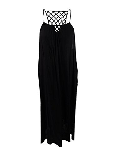 Lattice Back Dress - Raviya Womens Maxi Lattice-Back Dress Swim Cover-up Black L