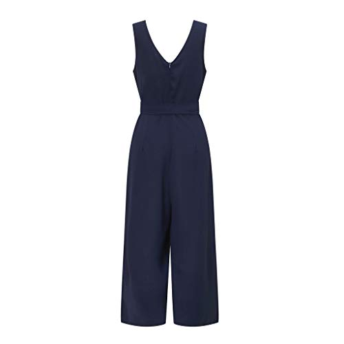 Pervobs Women Sleeveless V-Neck Backless Solid Button High Waisted Wide Leg Jumpsuit Casual Loose Beach Playsuits(XL, Navy) by Pervobs Women Pants (Image #4)