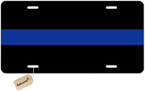 Amcove Thin Blue Line License Plate Front Black Auto Tag Novelty Auto Car Tag Vanity Gift
