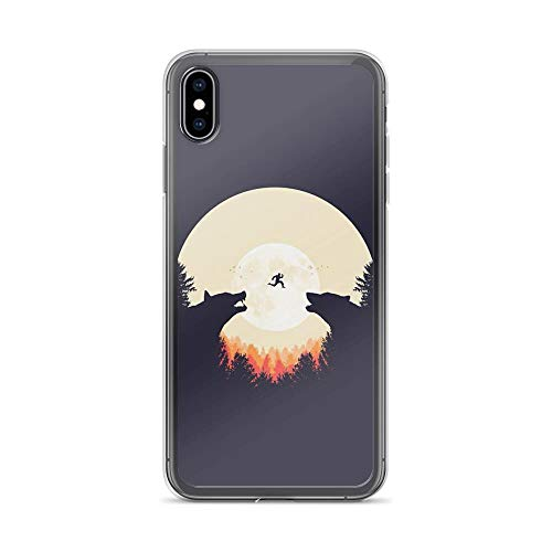 iPhone Xs Max Pure Clear Case Cases Cover Full Moon and Wolf Silhouette Illustration Drawing]()