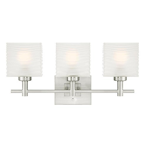 Westinghouse Lighting 6304000 Alexander Three-Light Indoor Wall Fixture, Brushed Nickel Finish with Rippled White Glazed Glass,