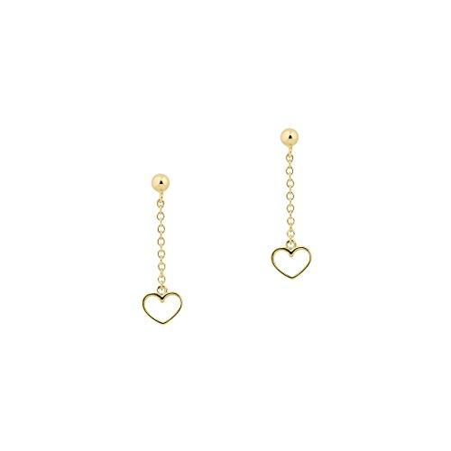 UNICORNJ Childrens Tweens Teens 14k Yellow Gold Open Heart Long Dangle Post Earrings by Unicornj