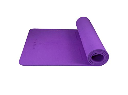 YOOMAT Yogamatte TPE Schwarz 8 mm Verlängerung 1800 mm 660 mm Fitness-Matte Anfänger Fitness Matte Body Guide System Yoga Matte