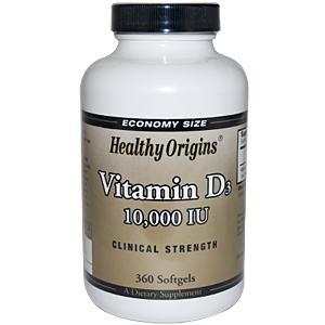 Origines santé, vitamine D3, 10.000 UI, 360 Softgels