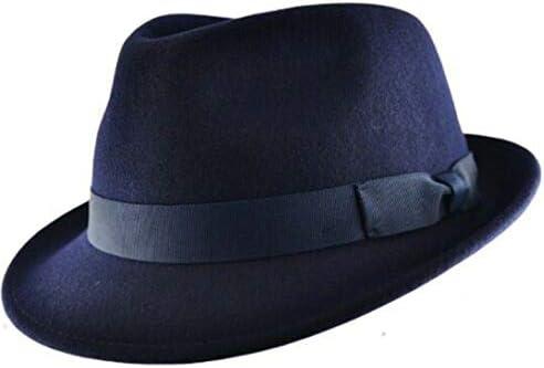 MAZ - Sombrero de lana 100% elegante, impermeable y aplastable, hecho a mano con banda de grogrén, diseño exquisito de Trilby Fedora, elegante sombrero de moda perfecto