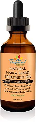 100% Natural Hair & Beard Growth Treatment Oil 2 oz - Premium Organic Essential Oil Blend with Argan, Emu, Jojoba, Jamaican Black Castor Oil,Peppermint for Men, Women with Dry, Damaged, Thinning Hair