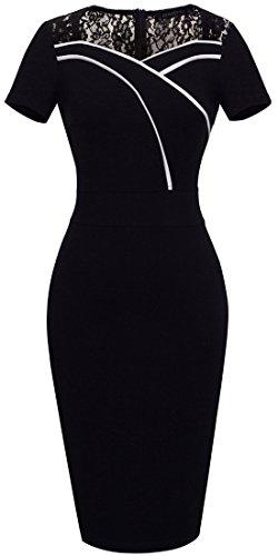HOMEYEE Vestido Vintage tipo lápiz con encaje, contraste, cuello forma corazón para mujer, para negocios, B318. negro