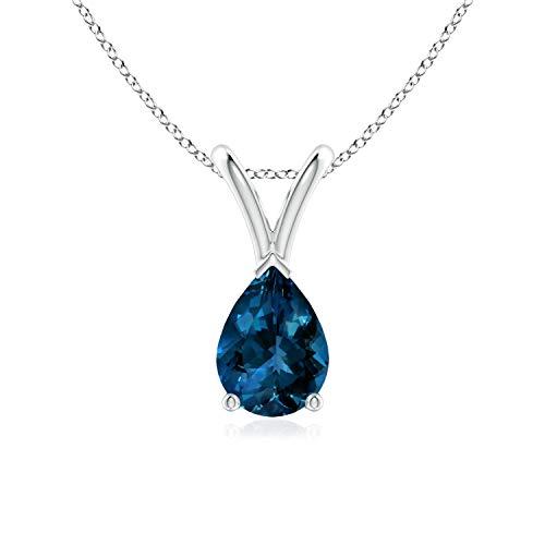 V-Bale Pear-Shaped London Blue Topaz Solitaire Pendant in Silver (7x5mm London Blue Topaz)