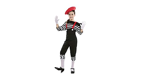 EUROCARNAVALES Disfraz de Mimo Circo para niña 7 a 9 años: Amazon ...