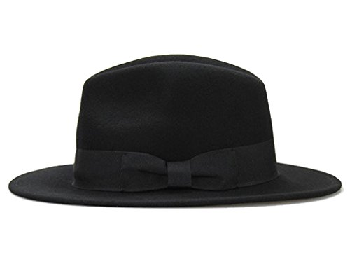 Big bowknot Wide-Brimmed 100% Wool Felt Hat Women's Jazz Cap Cowboy Hat Fedora Hat 4Color