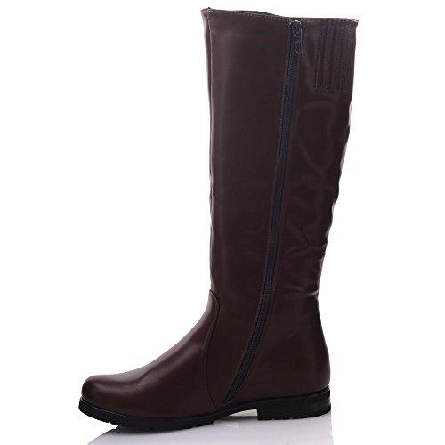 Unze Für Frauen Zesta Chain Geschmückt Riding Kniehohe Stiefel - 19-12 Braun