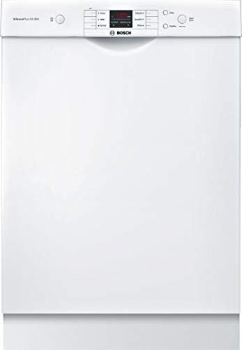 Bosch SHEM3AY52N 100 Series 24 Inch Built In Full Console Dishwasher with 6 Wash Cycles, in White