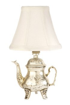 (CBK Small Silver Teapot Accent Table Lamp)
