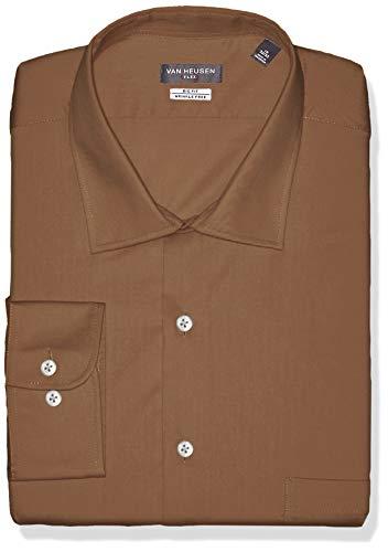 Van Heusen Men's FIT Dress Shirts Flex Collar Solid (Big and Tall), Tobacco, 20