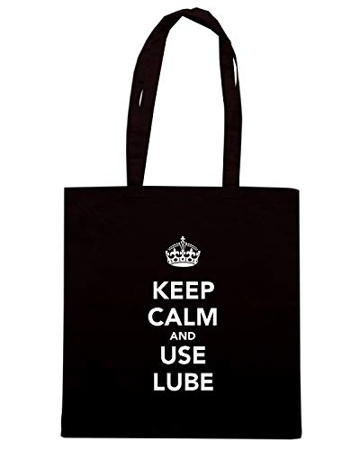 Speed Shirt Borsa Shopper Nera TKC0471 KEEP CALM AND USE LUBE