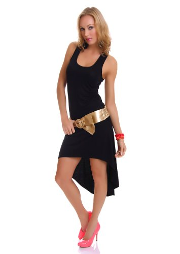 Damen Vokuhila Shirt-Kleid Minikleid Midikleid Trägerkleid Strandkleid Sommerkleid 34-36 (S-M) schwarz