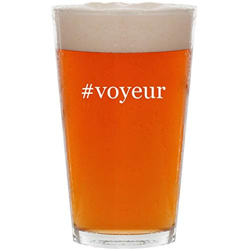 #voyeur - 16oz Hashtag All Purpose Pint Beer Glass (Best Camera For Upskirt)