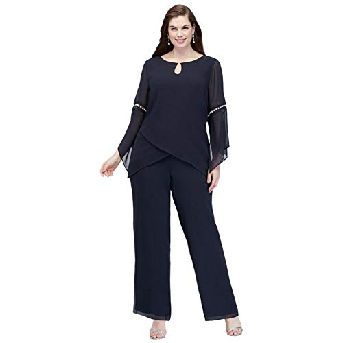 David's Bridal Plus Size Georgette Pantsuit with Beaded Inset Sleeves Style 27992, Navy, 14W