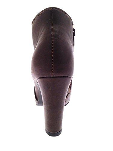 Uk Talon formes Faux Brun 3 Plates Cuir Bottines Bloc Haut Dames Chaussures Cachées Womens 8 Filles Taille AFpyq1p