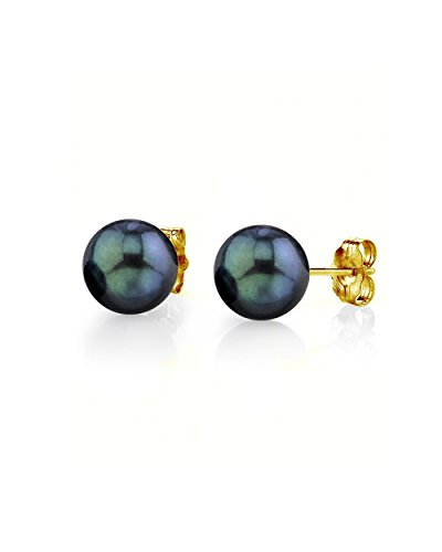 14K Gold 6-6.5mm AAA Quality Round Black Akoya Cultured Pearl Stud Earrings Set for ()