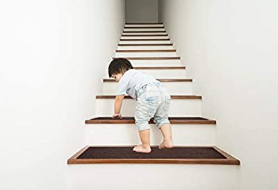 "EdenProducts Non Slip Carpet Stair Treads, Set of 15, Rug Non Skid Runner for Grip and Beauty. Indoor, Outdoor, Safety Slip Resistant for Kids, Elders, and Dogs. 8"" X 30"", Brown, Pre Applied Adhesive"