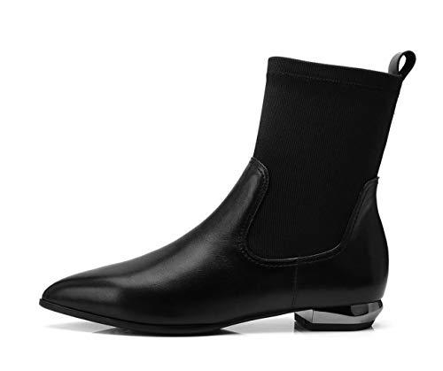 à Bottes Chaussures Bout élastiques Pointu Bottes Femmes Bottes à Bas Talon Noir Courtes qwCFUx