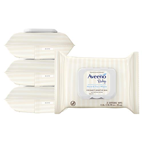 Aveeno Baby Hand & Face Baby Wipes with Oat Extract 25 Count (Pack of 4)