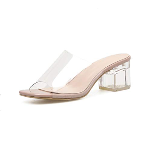 OTOSU Women's Chunky Heeled Sandals Slip On Square Toe Block Heel Pumps Fashion Clear Dress Slide Sandal Apricot -