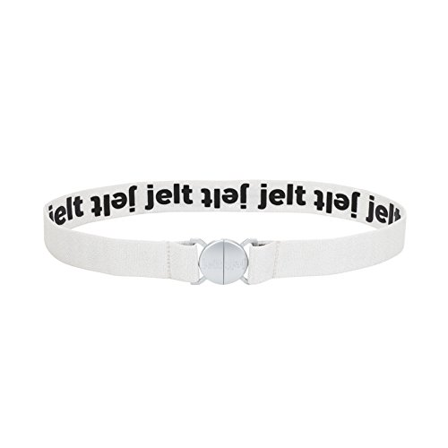 Strong & Invisible Elastic Stretch Belt by Jelt - Fits Women and Men Perfectly - Great With Any Pants! - Eco-Friendly (White Glacier, Small)