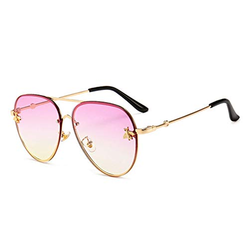 Square Bee Sunglasses Women Men Retro Metal Frame Oversized Sunglasses Gradient Shades,K32768-C3Purplyellow