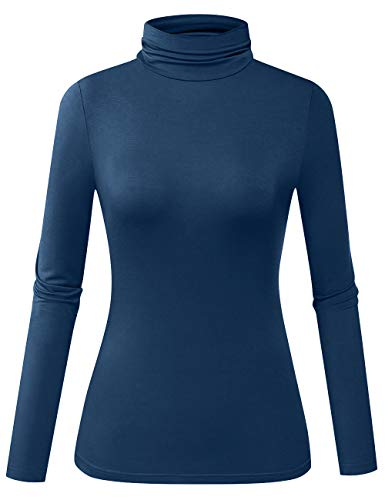 Herou Women Modal Lightweight Long Sleeve Turtleneck Top (Acid Blue, ()