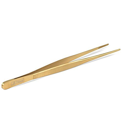 JB Prince Gold Straight Tip Tweezer 10 inches ()