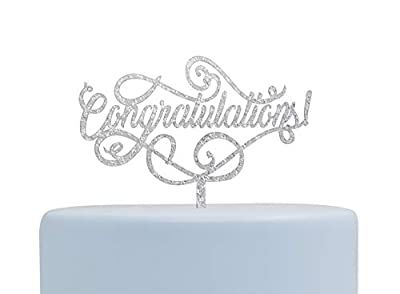 Congratulations Silver Cake Topper, Graduation, Wedding, Retirement Party Supplies(Silver)