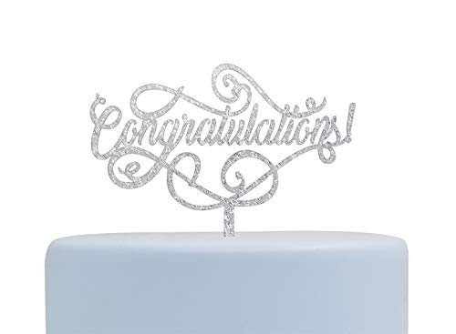 Congratulations Silver Cake Topper, Graduation, Wedding, Retirement Party Supplies(Silver) -