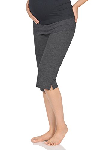 Beachcoco Women's Maternity Comfortable Knee Cropped Active Lounge Pants (L, Charcoal)