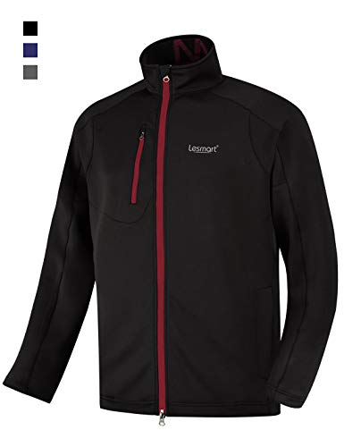 Men's Golf Jacket Lightweight Performance Stretch Training Track Fall Loose Fit Size XL Black Red by Lesmart