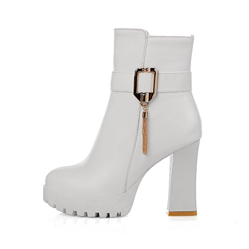 Heels Boots Imitated Chunky Chain Buckle Womens Leather 1TO9 White Metal Platform zTwEEq