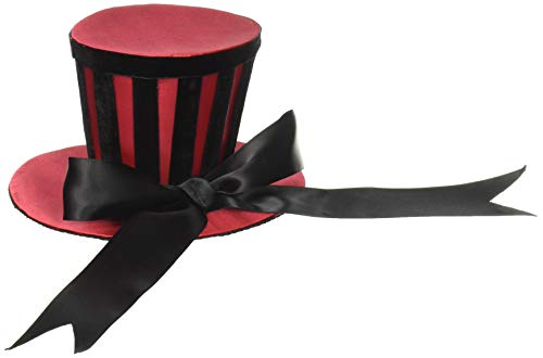 Leg Avenue Satin Top Hat With Stripes And Satin Bow Accent, Red/Black, One -