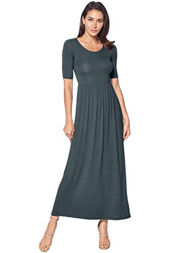 (82 Days Women's Casual 3/4 Sleeve Long Maxi Dress with Elastic Waist Made in USA - Gray M)