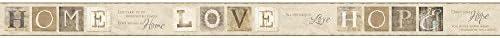 York Wallcoverings ac4364bd Keepsakes国引用符Border壁紙、Ecru、ベージュ、タン、グレー、ブラウン