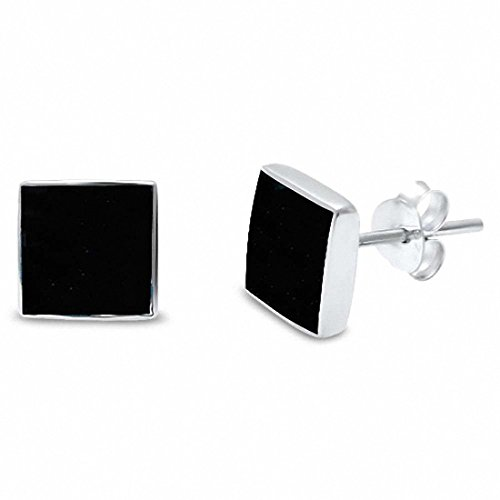 Square Solitaire Stud Earring Simulated Black Onyx 925 Sterling Silver