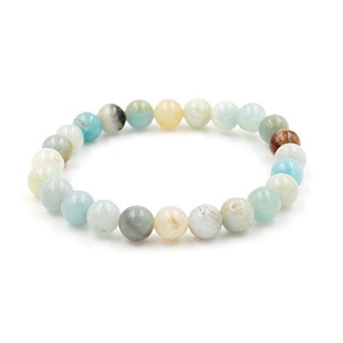 Semirecious Gemstone Healing Balance Stretch Bracelets, Natural A Grade (Mix Amazonite 8mm)